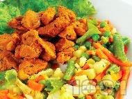 Рецепта Хапки от свинско месо от шол с картофи, грах и зелен боб